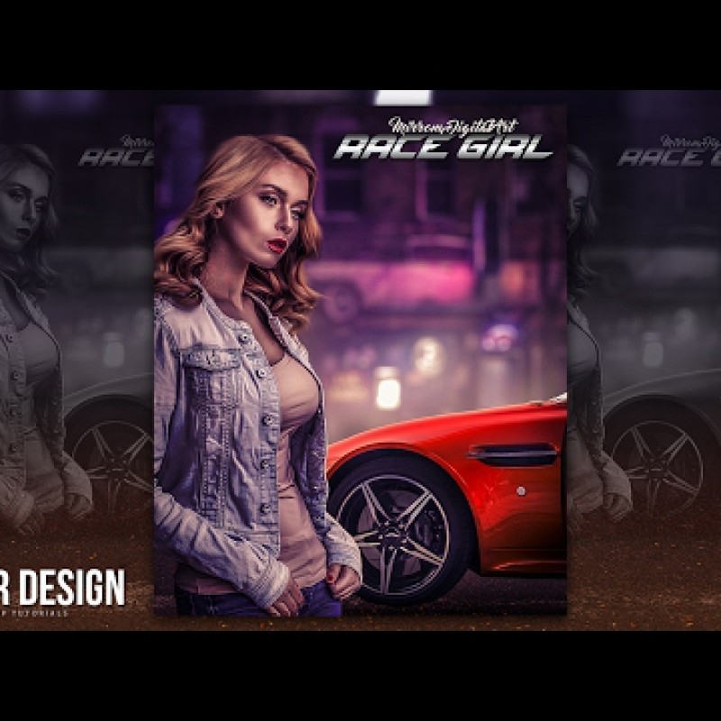 สอน Photoshop : Create a Racing Game Poster Manipulation Effect In Photoshop CC