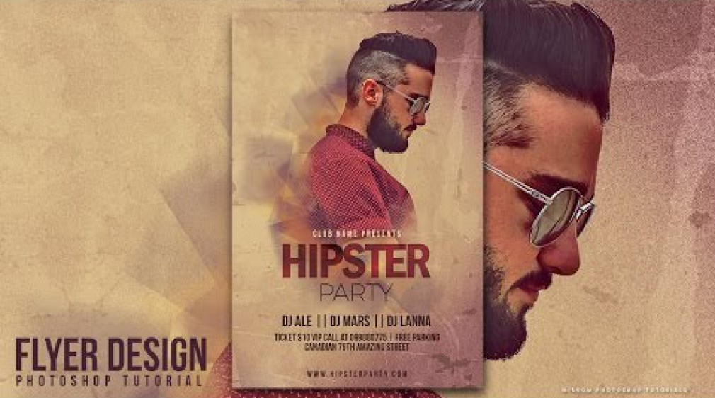 สอน Photoshop : How to Design a Hipster Party Flyer In Photohsop