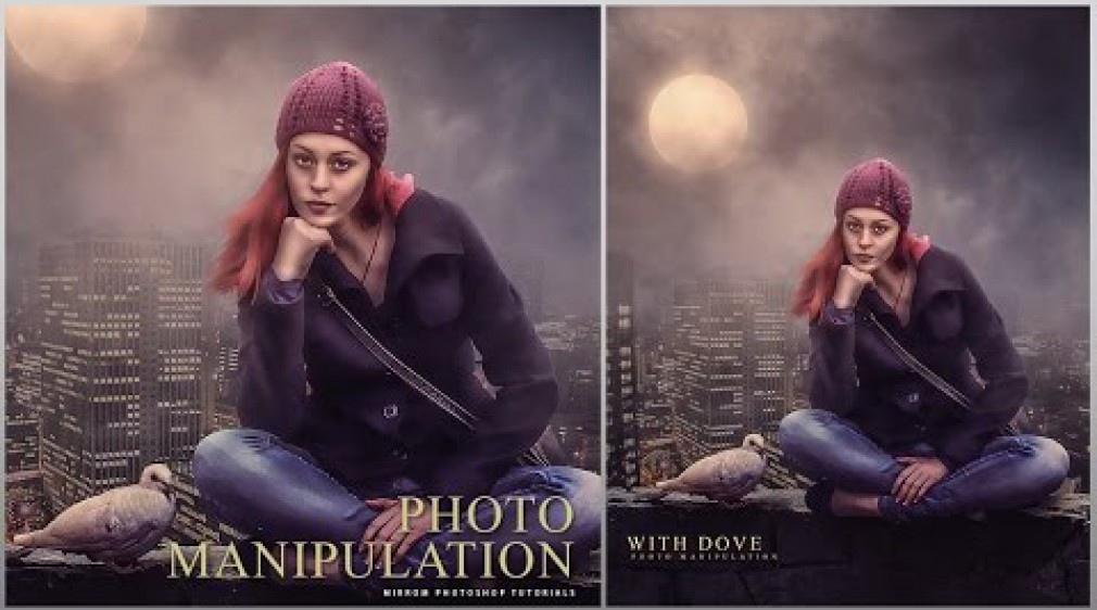 สอน Photoshop : An Beautiful With Dove Scene Photo Manipulation