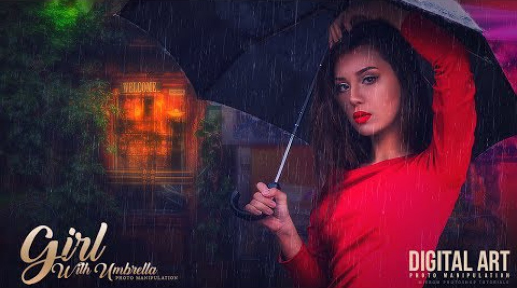 สอน Photoshop : Create a Photo Manipulation With Colorful Light and Rain Effect In Photoshop