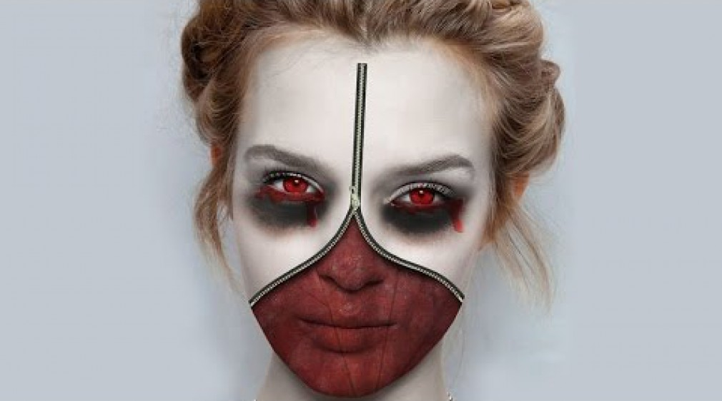 สอน Photoshop :  Making Zipper Face Halloween