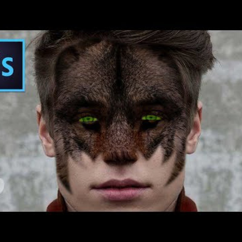 สอน Photoshop : Adobe Photoshop Tutorial: Face Wolf Effect