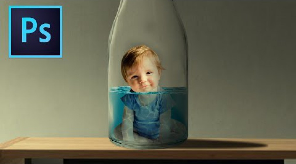 สอน Photoshop : Baby inside bottle photo Manipulation