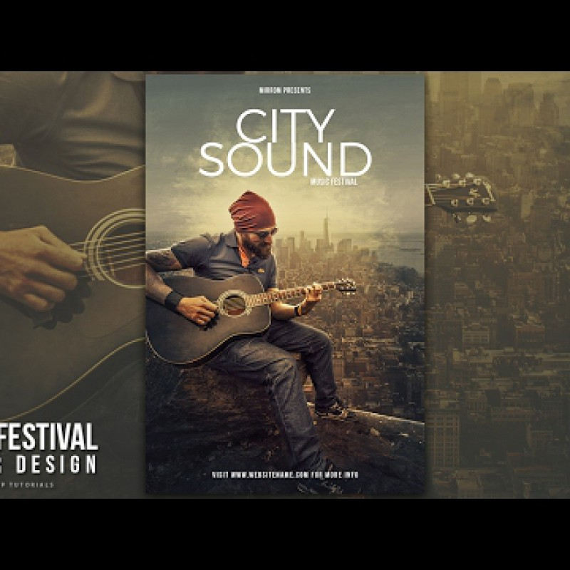 สอน Photoshop : Create a City Sound Music Poster Design In Photoshop CC