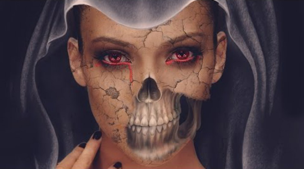 สอน Photoshop :  Halloween Skull Face in Photoshop