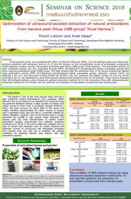Optimization of ultrasound-assisted extraction of natural antioxidants From banana peel (Musa (ABB group) 'Kluai Namwa')